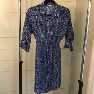 Maison Jules Blue Button Down Dress